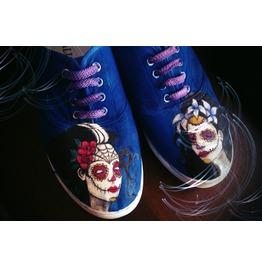 Handpainted Shoes, Santa Muerte, Sugar Skull