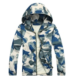 Mens Blue/Green Camouflage Hoodies