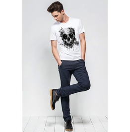Mens Skull Printed Short Sleeve White T Shirt