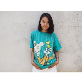 Vintage Remade Disney Goofy Mickey Mouse T Shirt, Hand Sewn Sequins.