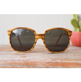 Vintage Women Sunglasses Made France 1970's Oversized Wood Grain Style