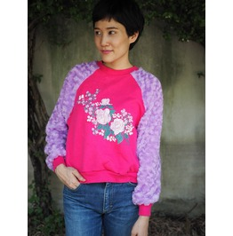 Vintage Remade Flower Sweater Soft Velour Sleeves