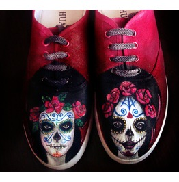 Personalized Handpainted Shoes, Santa Muerte,