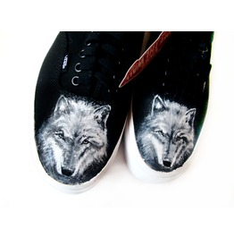 Handpainted Shoes Wolves Shoes, Wolf Personalized Sneakers