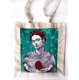 Handpainted Tote Frida Kahlo Heart Custom Eco Friendly Bag