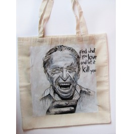 Handpainted Tote Charles Bukowski Custom Eco Friendly Bag