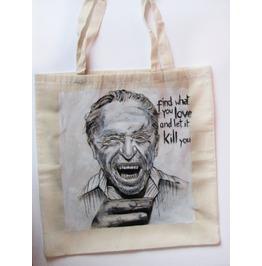 Handpainted Tote Charles Bukowski Custom Eco Friendly Bag