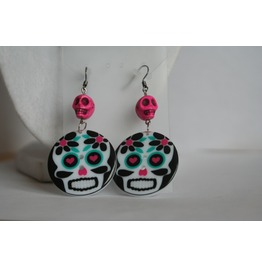 Cycled Sugar Skull Button Dangle Earrings