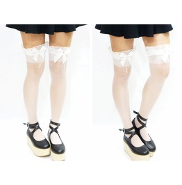 Lolita White Thigh Lace Bow Stockings