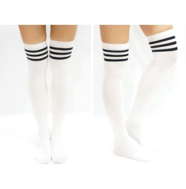 Jk Black Stripe Cotton Thigh High Socks White