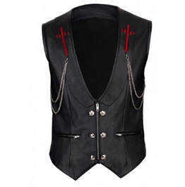 Goth Faux Leather Waistcoat