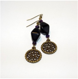 Brass Dreamcatcher Earrings Black Glass Beads