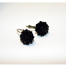 Gothic Black Dahlia Earrings