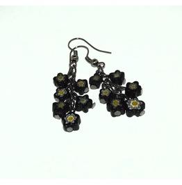 Handmade Black Flowers Bouquet Earrings