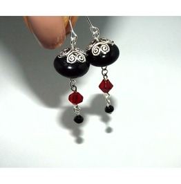 Handmade Gothic Elegance Black Red Dangle Earrings