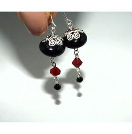 Handmade Gothic Elegance Black Red Dangle Earrings