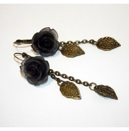 Handmade Gothic Earrings Black Roses Brass Leaves