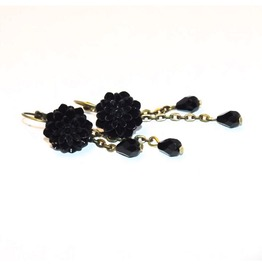 Handmade Gothic Romantic Black Dahlia Earrings