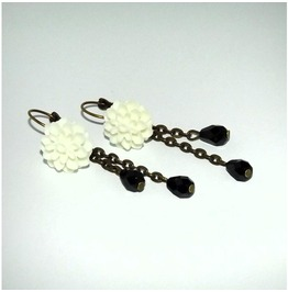 Handmade Gothic Romantic White Dahlia Earrings