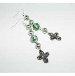Handmade Earrings Cross Tree Agate Silver Glass Pearls Beads