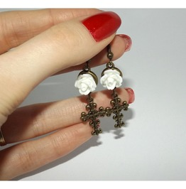 Handmade Earrings White Rose Brass Cross