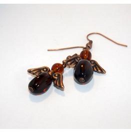 Handmade Steampunk Earrings Brown Cooper Angels