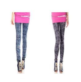 Women Lady Black/Blue Jean Design Sexy Stretchy Leggings Tight Skinny