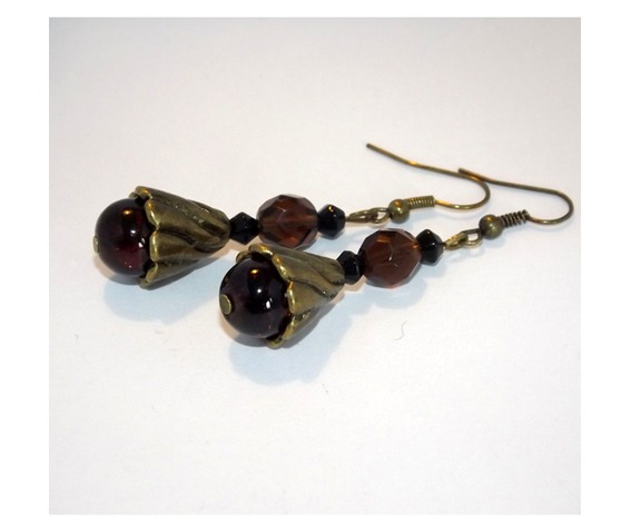 steampunk_handmade_earrings_brown_glass_beads_brass_details_earrings_4.jpg