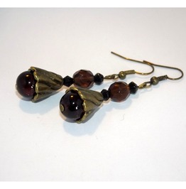 Steampunk Handmade Earrings Brown Glass Beads Brass Details