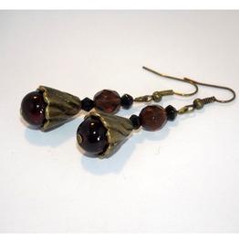 Steampunk Handmade Earrings Brown Glass Beads Brass Details