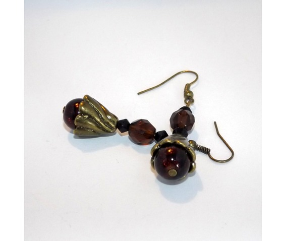 steampunk_handmade_earrings_brown_glass_beads_brass_details_earrings_3.jpg