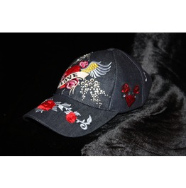 Love Heart Denim Baseball Cap Blue Charcoal Color Rebel Chic Glam Rock Hat