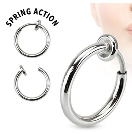 Spring Action Titanium Ip Septum Nose, Ear Hoop Pair Silver