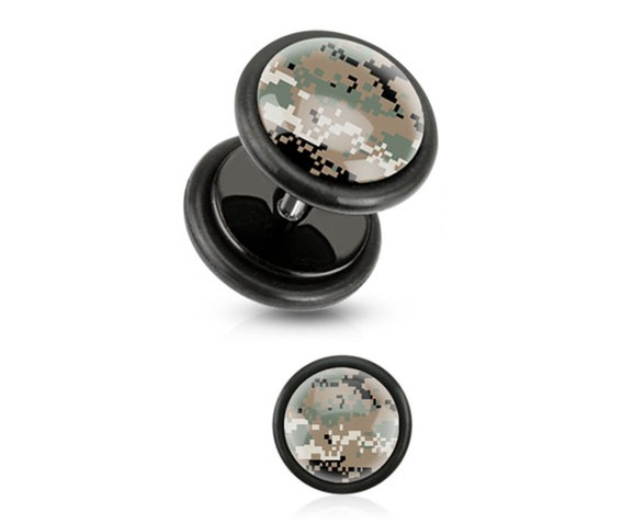 brown_pixelated_camouflage_print_inlayed_black_acrylic_plug_pair_fake_plugs_and_piercing_jewelry_2.jpg