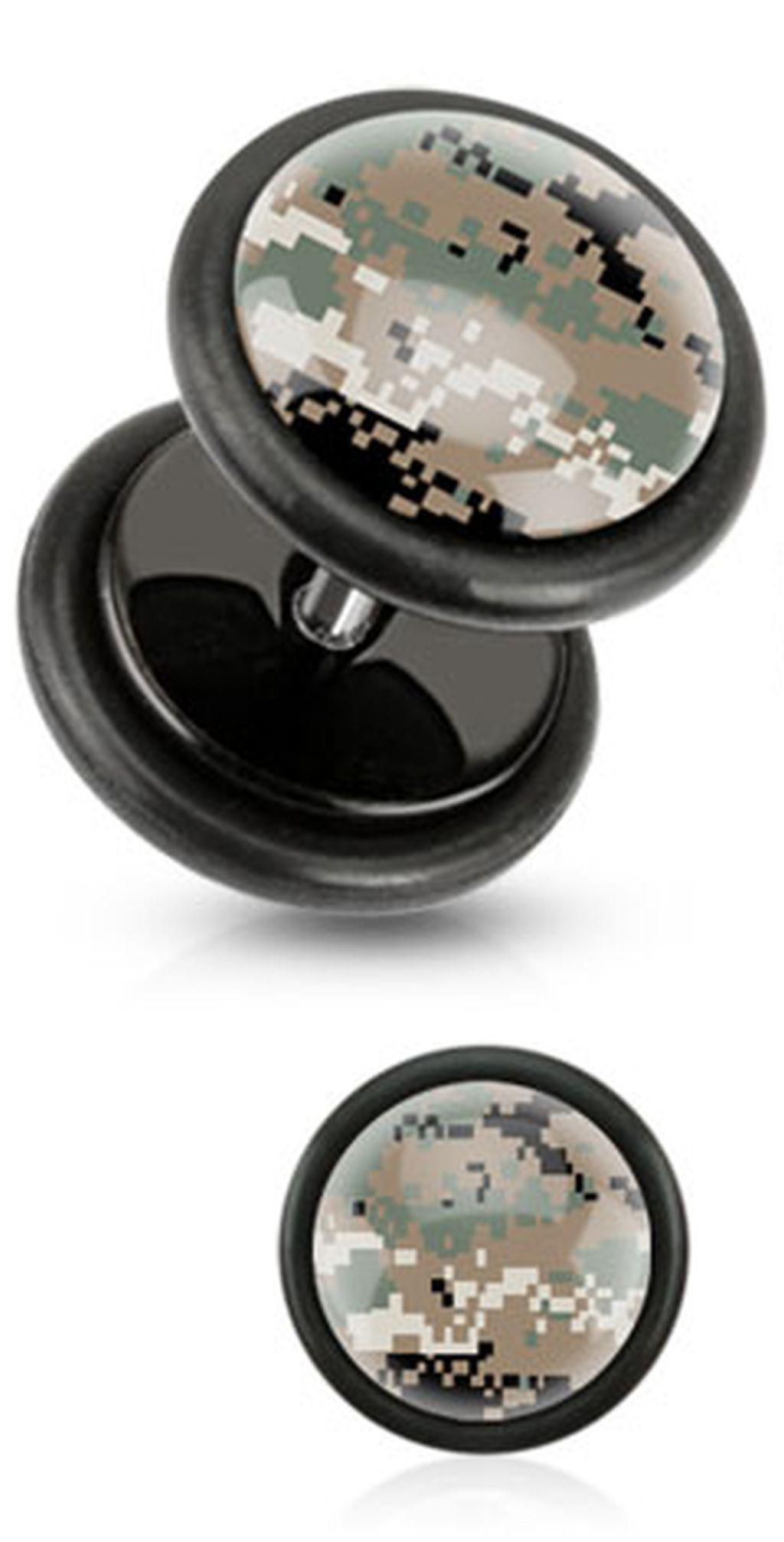 brown_pixelated_camouflage_print_inlayed_black_acrylic_plug_pair_fake_plugs_and_piercing_jewelry_2.jpg
