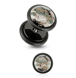 Brown Pixelated Camouflage Print Inlayed Black Acrylic Plug Pair