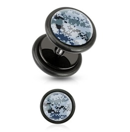 Blue Pixelated Camouflage Print Inlayed Black Acrylic Plug Pair