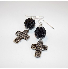 Handmade Gothic Earrings Embossed Cross Black Shiny Beads