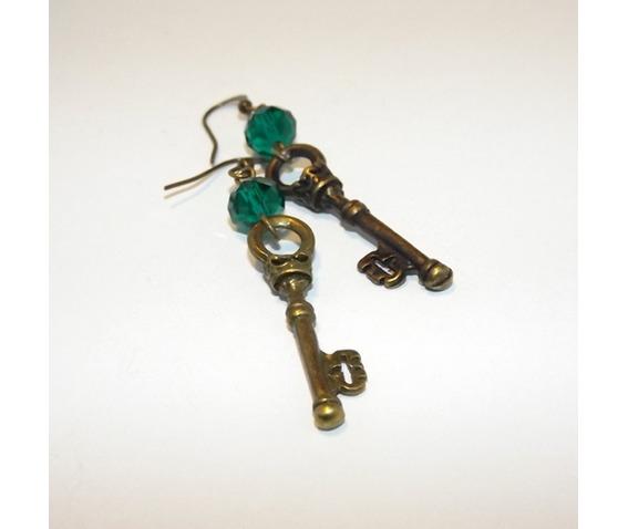 gothic_handmade_brass_keys_earrings_green_glass_beads_earrings_4.jpg