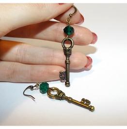 Gothic Handmade Brass Keys Earrings Green Glass Beads