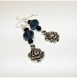 Handmade Gothic Rose Earrings Prussian Blue Glass Beads