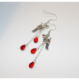 Handmade Earrings Gun Pendants Blood Drop Glass Beads