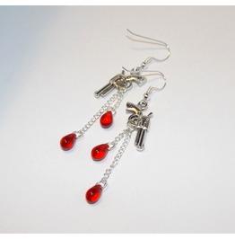 Handmade Earrings Gun Pendants Blood Drop Glass Beads