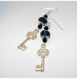 Handmade Gothic Silver Key Earrings Prussian Blue Glass Beads