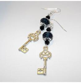 Handmade Gothic Silver Key Earrings Prussian Blue Glass Beads