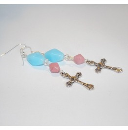 Handmade Christian Cross Earrings Pink Turquoise Beads