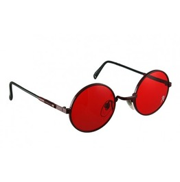 Round Hippie Retro Style Sunglasses Red Lens