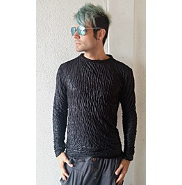 Italiano Couture Black Wrinkled Long Sleeve Shirt