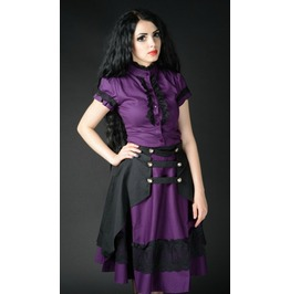 Purple Black 2 Layer Front Button Knee Length Goth Skirt