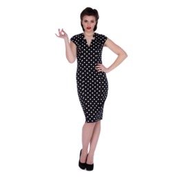 Voodoo Vixen Kensington Polka Dot Pencil Dress